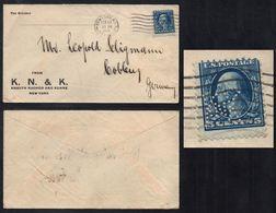 USA - NEW YORK / 1920 PERFIN - PERFORE SUR LETTRE POUR L ALLEMAGNE (ref LE2106) - Storia Postale
