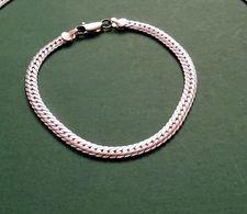 Bracelet Plaqué Argent Maille Plate , Neuf - Bracelets