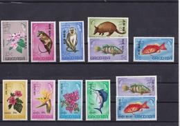 GRENADA 1972 MNH** Overprint AIR MAIL, FISH, ANIMALS, FLOWERS - Fische
