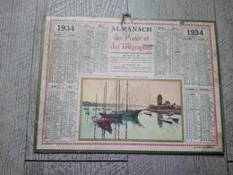 Calendrier Almanach Des Postes Des Télégraphes 1934 Saint Servan Tour Solidor - Calendriers