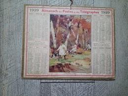 Calendrier Almanach Des Postes Des Télégraphes 1939 Départ Pour La Battue Chasse - Calendars