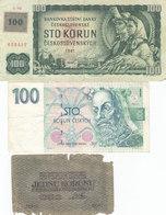 Lot De 3 Billets Tchécoslovaquie 1919 1961 Et 1993 - Tchécoslovaquie