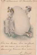 VIENNOISE (Type) - Pâques - Deux Jeunes Filles - Oeuf - Lièvre - Chapeaux - Rubans - Plumes - Pasqua