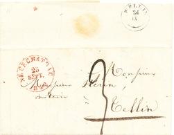 ZZ219 - Lettre Précurseur NEUFCHATEAU 1848 Vers TELLIN Via Type 18 WELLIN - Entete Avoué Jullien - 1830-1849 (Belgique Indépendante)