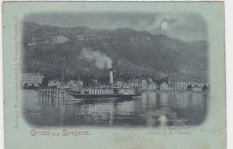 """Dampfer Im Hafen Von Bregenz - Int.Stempel """"Romanshorn & Rorschachshaven - 1900    (P-117-61112) - Paquebots"""