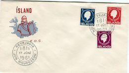 Iceland/Islande/Ijsland/Island FDC 17.VI.1961 Jon Sigurðsson Matching Cover - FDC
