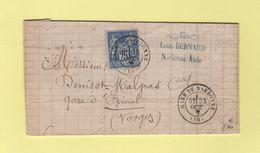 Gare De Narbonne - 10 - Aude - 25 Oct 1877 - Au Dos Convoyeur Station Cette - Postmark Collection (Covers)