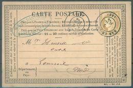 FRANCE - 2.7.1876 - CARTE POSTALE BAR LE DUC - Yv 59  - Lot 16394 - Entiers Postaux