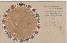 Simploneinweihung - Goldprägekarte Mit Vittorio Emanuele III - 1906          (P-118-60806) - Trains