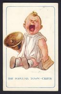 FRED SPURGIN ~ The Popular Town-crier ~ Baby Holding Book, Large Bell, Yelling / Crying ~ No. 221 1913 Postcard. - Spurgin, Fred