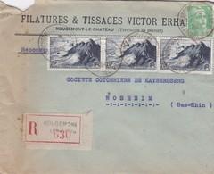 Lettre à Entête Recommandée Rougemont Le Chateau 1949 Filatures & Tissages Victor Erhard Pour Sapit Rosheim - Marcophilie (Lettres)