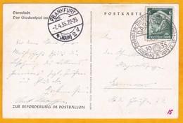 1935 - Carte Postale De Darmstadt Par Ballon Libre Vers Frankfurt, Allemagne - Obl Spéciale, Cad Arrivée - Allemagne