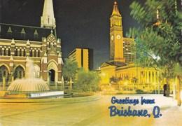 Greetings From BRISBANE, Q - Hôtel De Ville Et Place Du Roi George, La Nuit (City Hall And King George Square) - - Brisbane
