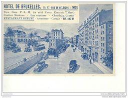 NICE HOTEL DE BRUXELLES RUE DE BELGIQUE CARTE BLEU BON ETAT - Cafés, Hôtels, Restaurants