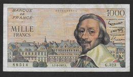 1000 Fr  RICHELIEU  Du  7 - 3 - 1957 - 1871-1952 Circulated During XXth