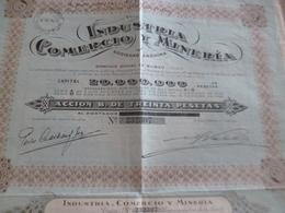 Action 30 Pesetas Industria Commercio Y Minerie Bilbao Vizcaya 1933 Mines - Mines