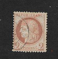TIMBRE DE FRANCE CÈRÈS N° 51 ROUGE BRUN TRACE DE CHARNIERE OBLITÉRÉ  : - 1871-1875 Cérès