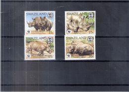 Rhinocéros Blanc - Swaziland De 1987 - Série Complète - XX/MNH - Rhinozerosse