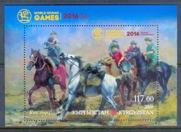 A228- Kyrgyzstan 2016. Sport. World Nomad Games. Fauna. Horses. - Stamps