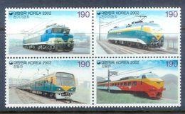 A229- Korea 2002 Train. Transports. Locomotives. - Trains