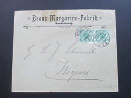 DR Nordschleswig 1898 Nr. 46 MeF Senkrechtes Paar!! Firmenbrief Bröns Margarinefabrik Gitterstempel Bröns - Germany