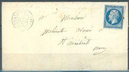 FRANCE - 21.1.1857 - LETTRE DE GIVRY EN ARGONNE A ST MENEOULE  PC 1404 - Yv 14A - Lot 16397 - 1853-1860 Napoléon III