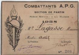 Carte Membre Actif/Combattants APG/Section De PANTIN/ Lagasse Maurice / 1938               AEC102 - Documents