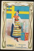 Honig Trade Card (NL) : Arms, Flag And Costume : Sweden (crest, Heraldry, Folklore) - Trade Cards