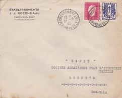 Lettre à Entête Chèvremont 1945 Etablissements JJ Rozendaal Pour Sapit Rosheim - Poststempel (Briefe)