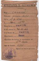 Militaria/ Attestation De Recensement / Mairie De PANTIN/ Seine / Léonce Lagasse/ 1944               AEC103 - Documents