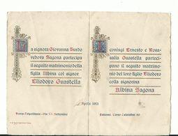 Pergamena Partecipazione Matrimonio Anno 1913 - Menu