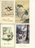 Lot De 6 Cpa Bonne Année Paysages De Neige Biches Oiseaux Fleurs - New Year