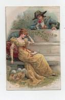 Carte Postale Publicité Lajeunesse Marx & Cie Nantes Rêverie Couple Fleurs Amoureux Cour - Werbepostkarten