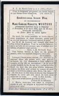 Wouters Marie Carol °1856+1894 Bruxelles Chateau Gooik Van Oldeneel Tot Oldenzeel Famille De Wouters De Bouchout 12*8cm - Décès