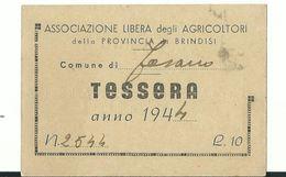 """Tessera """" Associazione Libera Degli Agricoltori """" - Anno 1944 - Non Classificati"""