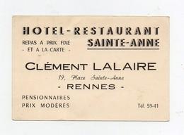 Carte De Visite Hôtel Restaurant Sainte Anne Clément Lalaire Rennes - Visiting Cards