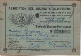 Militaria/Carte De Membre Participant/Association Des Anciens Sous-Officiers/Lagasse/ PANTIN/1938          AEC109 - Documents