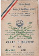 Militaria/Carte D'Identité/Fédération Nationale Des Amicales De Sous Off.de Réserve/Lagasse / PANTIN/1936-37     AEC110 - Documents