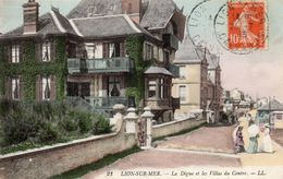 CPA LION SUR MER - LA DIGUE ET LES VILLAS DU CENTRE - France