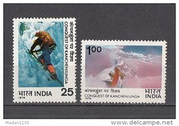 INDIA, 1978,  Conquest Of Kanchenjunga, Mounteerring, Mountain, Nature, Glaciers, Set 2 V, MNH, (**) - India
