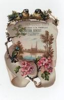 CHROMO Découpis Gaufrée Pain D'épices Glacé à La Vanille Maison Rondot Dijon Ville Cathédrale Rivière Oiseaux Fleurs - Trade Cards