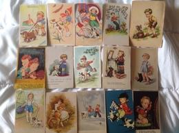 Lot De 15 Cartes Enfant Et Chien - Children's Drawings