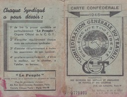 CARTE CONFEDERALE C.G.T. 1946 - Mappe