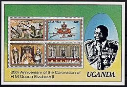A0955 UGANDA 1979, SG MS238 25th Anniv Coronation Queen Elizabeth II,  MNH - Uganda (1962-...)