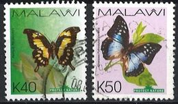 MALAWI 2007 Fauna - Nature Conservation; Butterflies 2 Postally Used Stamps Michel # 788,789 - Malawi (1964-...)
