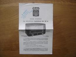 Brochure Mode D'emploi Notice RADIOLA RA 35 A Recepteur Poste Radio - Supplies And Equipment