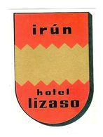 IRUN HOTEL LIZASO ANCIENNE ETIQUETTE D HOTEL POUR BAGAGES - Etiquettes D'hotels