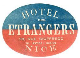 HOTEL DES ETRANGERS NICE 39 RUE GIOFFREDO ANCIENNE ETIQUETTE D HOTEL POUR BAGAGES - Etiquettes D'hotels
