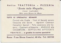 ROME ANTICA TRATTORIA PIZZERIA FONTE DELLE ANGUILLE FLLI CATARCI CARTE PUBLICITAIRE - Italia