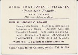 ROME ANTICA TRATTORIA PIZZERIA FONTE DELLE ANGUILLE FLLI CATARCI CARTE PUBLICITAIRE - Italie